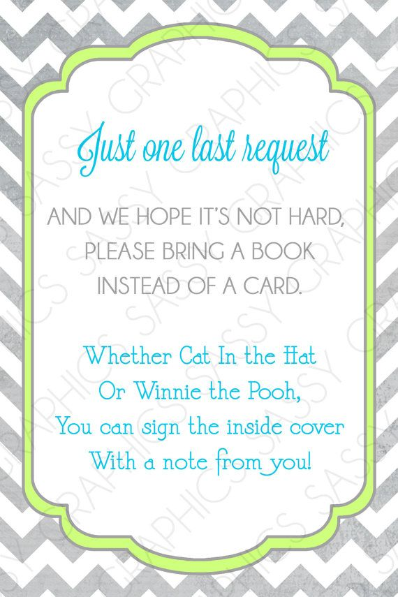 boys baby shower bring a book insert card chevron gray green blue