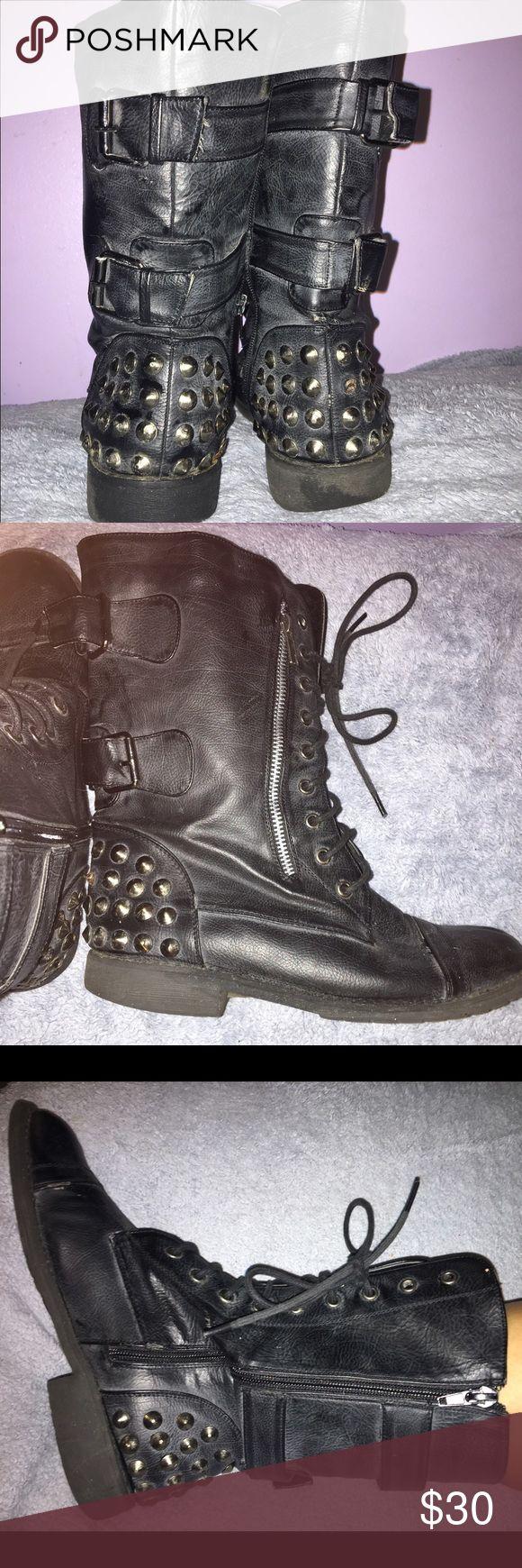 Black studded combat boots Black studded combat boots Shoes Combat & Moto Boots