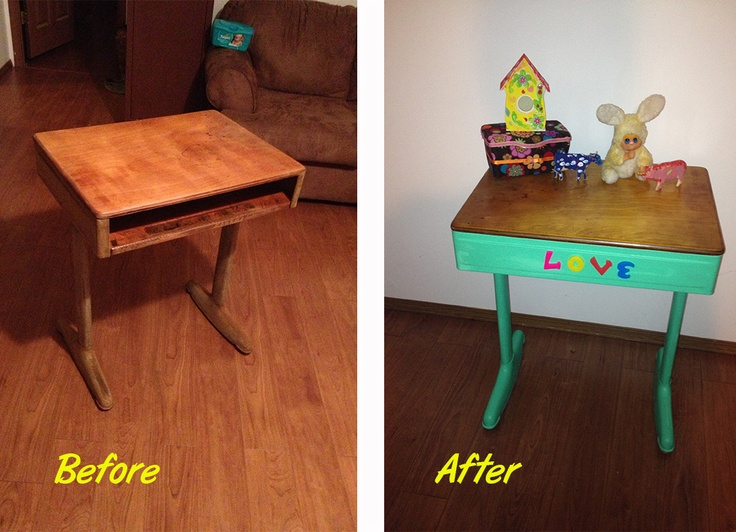 My Daughters Box Room Right Side: I Turned An Old School Desk Into A Side Table For My