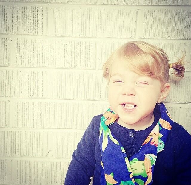 Cheeky little miss wearing her Sticks + Stones pacific infinity scarf.