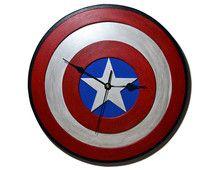 Reloj de pared del logo de Capitan America de Los Vengadores. Super heroe…