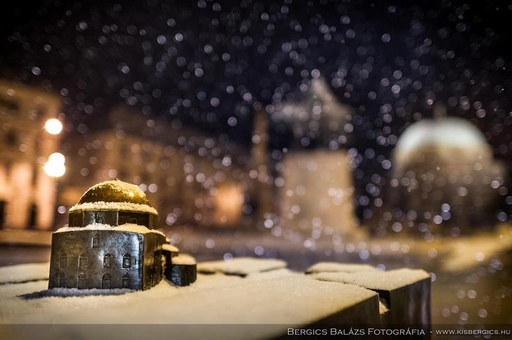 snowing in Pécs