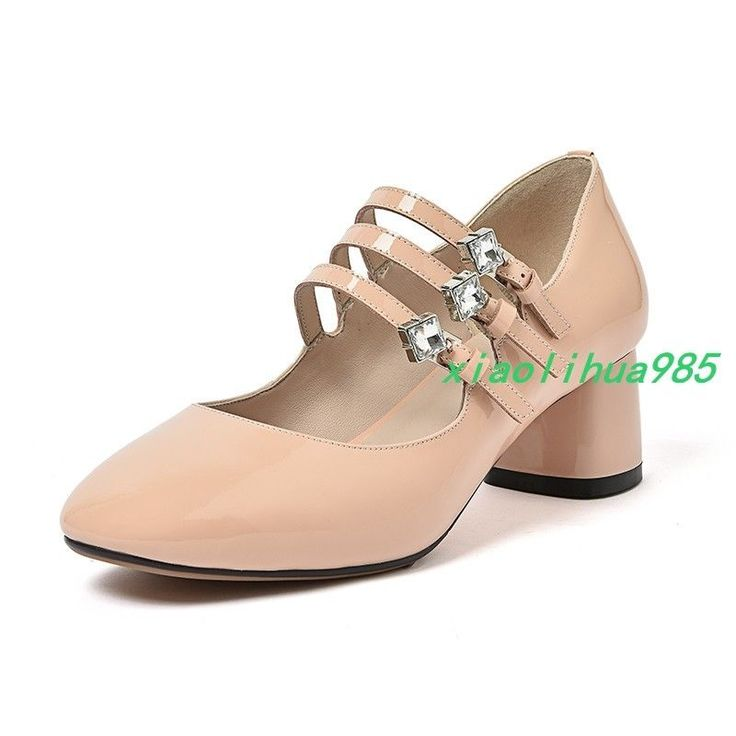 Retro Marry Jane Womens Patent Leather Straps Decorate Block Heel Shoes Formal