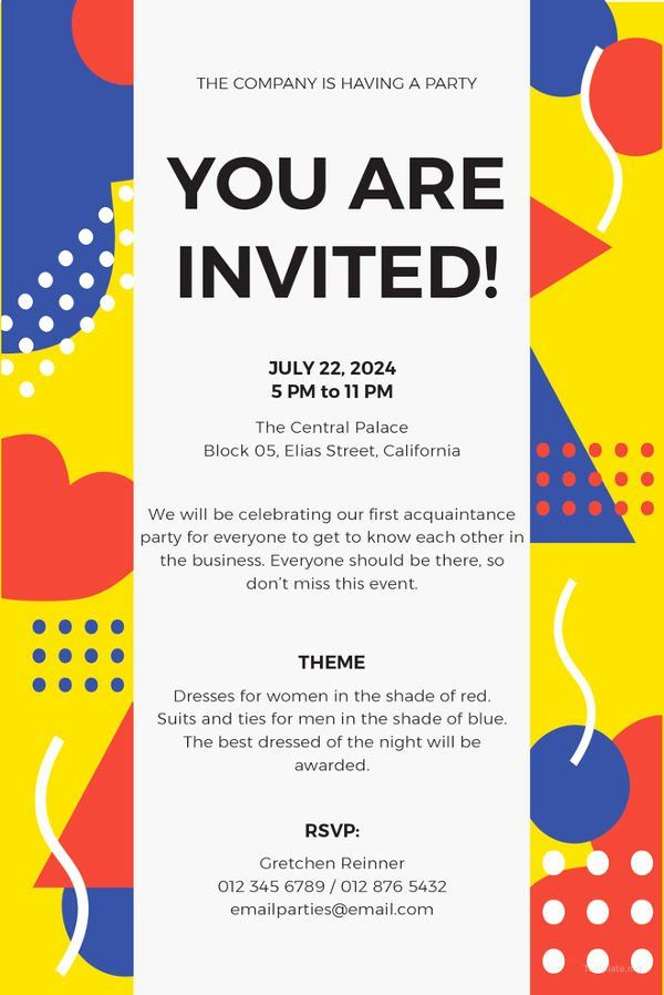 Email Party Invite Template New 15 Email Invitation Template Free Sample Example Email Party Invitations Dinner Invitation Template Party Invite Template