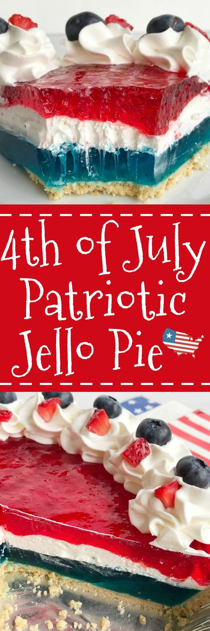 Celebrate the 4th of July with this delicious, totally festive, and easy patriotic Jello pie! 3 layers of red, white, and blue inside a store-bought prepared graham cracker crust. Top with additional Cool Whip and fresh fruit for a show stopper dessert at