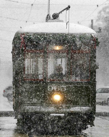 Streetcar in NOLA, on a rare snow day: New Orleans, Buckets Lists, Favorite Places, Winter, Christmas Holidays, Snow, Beautiful, Street Cars, Things