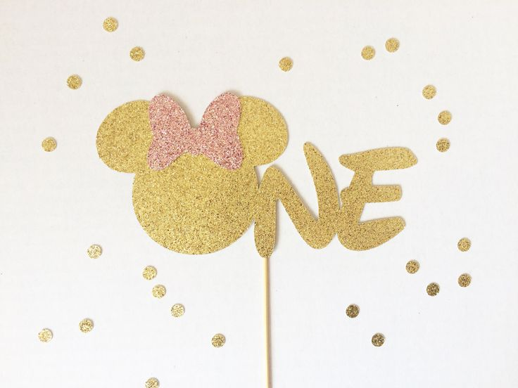 "Minnie Mouse Inspired First Birthday ""One"" Cake Topper - Sparkly Gold and Pink (Monnie Mouse Cake Topper, Age Cake Topper) by TopperAndTwine on Etsy https://www.etsy.com/listing/254008113/minnie-mouse-inspired-first-birthday-one"