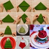 One of the most important elements of Christmas day is the decoration of the dinner table. For that if you turn ordinary napkins into folded designs or emb