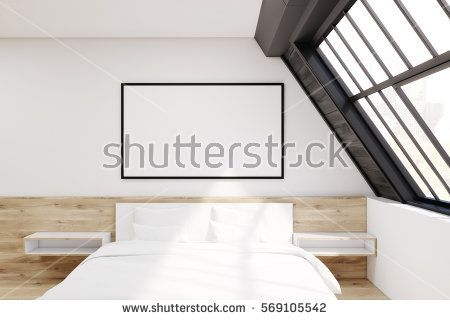 Front view of an attic bedroom. There is a bed with two bedside tables, a window with a black wooden frame and a horizontal framed poster above the bed. 3d rendering. Mock up.