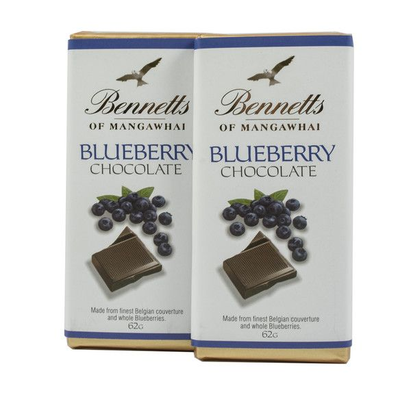 Bennetts of Mangawhai Blueberry bar in milk chocolate.