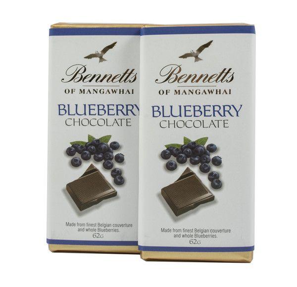 Bennetts of Mangawhai Blueberry bar in milk chocolate.