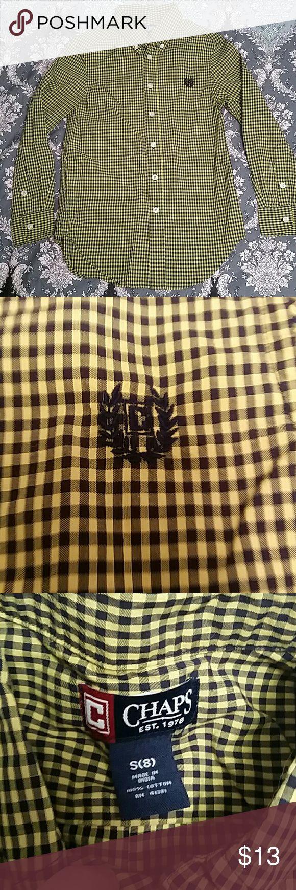 Chaps Ralph Lauren Black & Yellow Button Down Boys Chaps Ralph Lauren Black & Yellow micro-plaid Button Down shirt. Bright Gold and Black pattern. NWOT Chaps Shirts & Tops Button Down Shirts