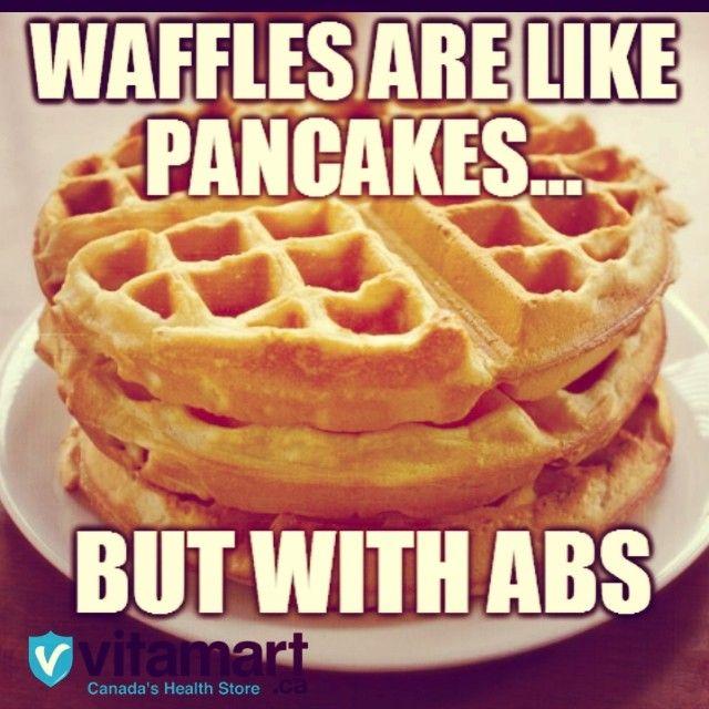 Lol! We still love them both :) #6packwaffles #flattummypancakes www.vitamart.ca