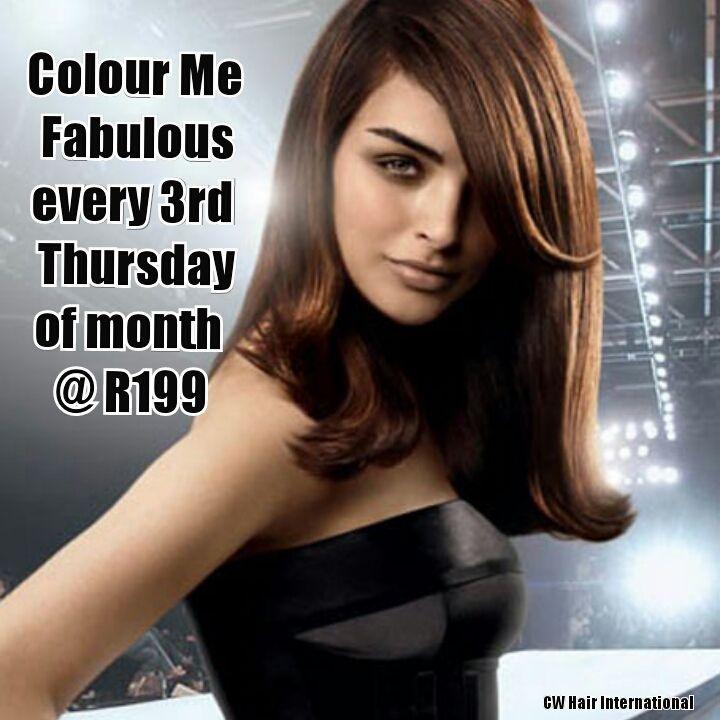 Colour me Thursday Redken Colour @ R199 Every 3rd Thursday of the month.