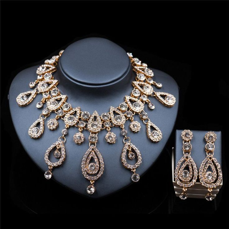 2017 New Rhinestone Wedding Jewelry Sets Bridal Women Gold Plated Necklace Earrings Jewelry Set For Women Accessories LF-G30