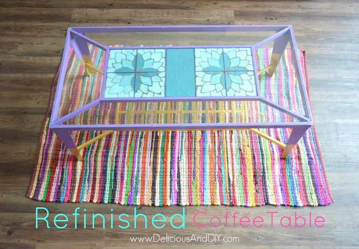 Refinished Coffee Table| Home Decor| Coffee Table Ideas| Ombre Flower| Bright Co...