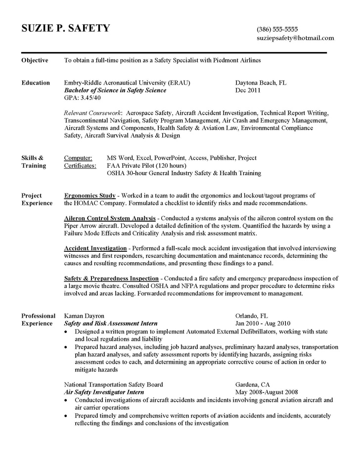 Safety Sample Resume builder Pinterest Resume builder and - pilot resume