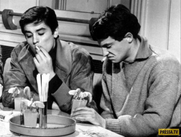Жан-Поль Бельмондо и Ален Делон. Первая совместная съемка. Фильм *Будь красивой и молчи*, 1958