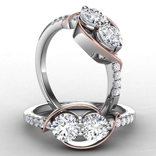 14k Rose and White Gold 1ctw Diamond Forever Us Ring