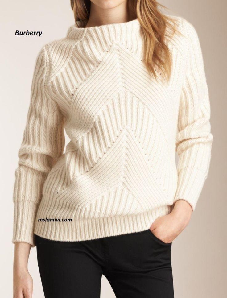 Вязаный свитер спицами от Burberry - СХЕМЫ #ВязаниеСпицами http://mslanavi.com/2016/05/vyazanyj-sviter-spicami-ot-burberry/