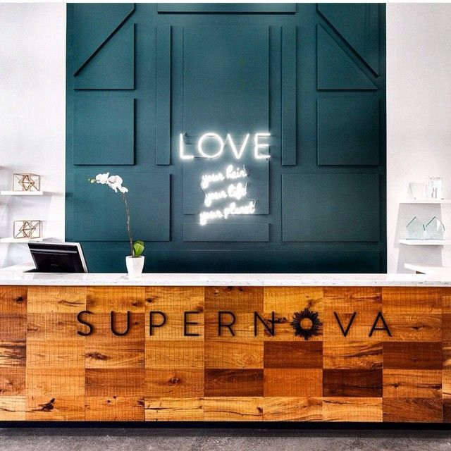 Regram from @karinbohn of the reception desk @supernovasalon designed by @moeskidesignagency #custom #coolsigns #customsigns #neon #neonsigns #interiordesign #vancouver #vancity #lostart #love