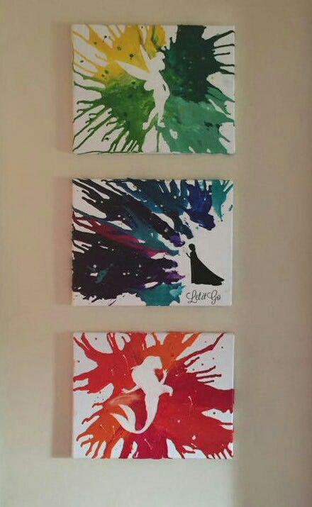 Disney inspired melted crayon art