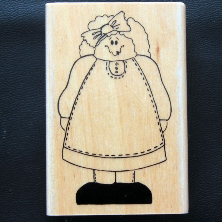 Cute Cartoon Girl in Pinafore Dress Rubber Stamp by Home and Heart by Neandercol…
