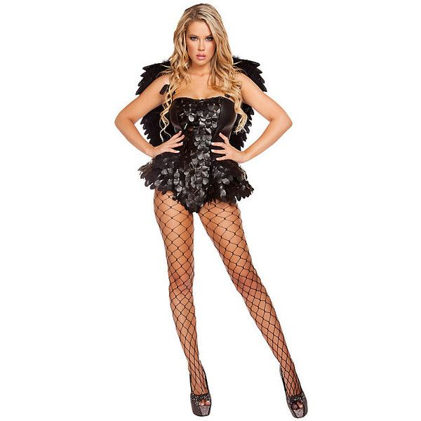 Adult Dark Angel Sexy Costume ($90) ❤ liked on Polyvore featuring costumes…                                                                                                                                                     More