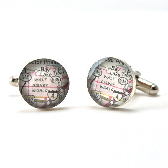 Walt Disney World Vintage Map Sterling Silver Cuff by dlkdesigns