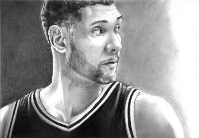 Graphite Sketch - Portrait Drawing of Tim Duncan