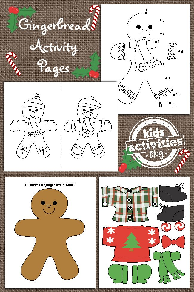 Ginger Bread Man Printable for Kids. Bake some cookies and use the activity pages while you wait!