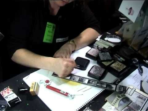 How to alter Darkroom Door Filmstrips & Wordstrips - demo by Rachel Greig at Paperific show.