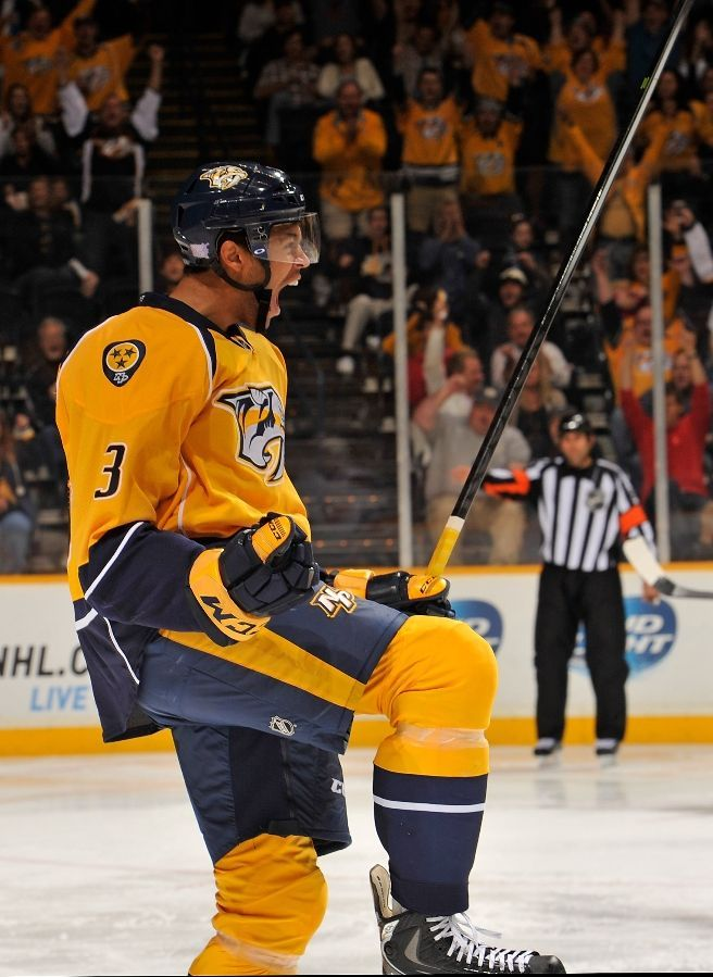 OCTOBER 12:  Defenceman rookie Seth Jones #3 of the Nashville Predators reacts after scoring his first career NHL goal