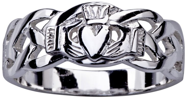 Mens Silver Celtic Claddagh Ring