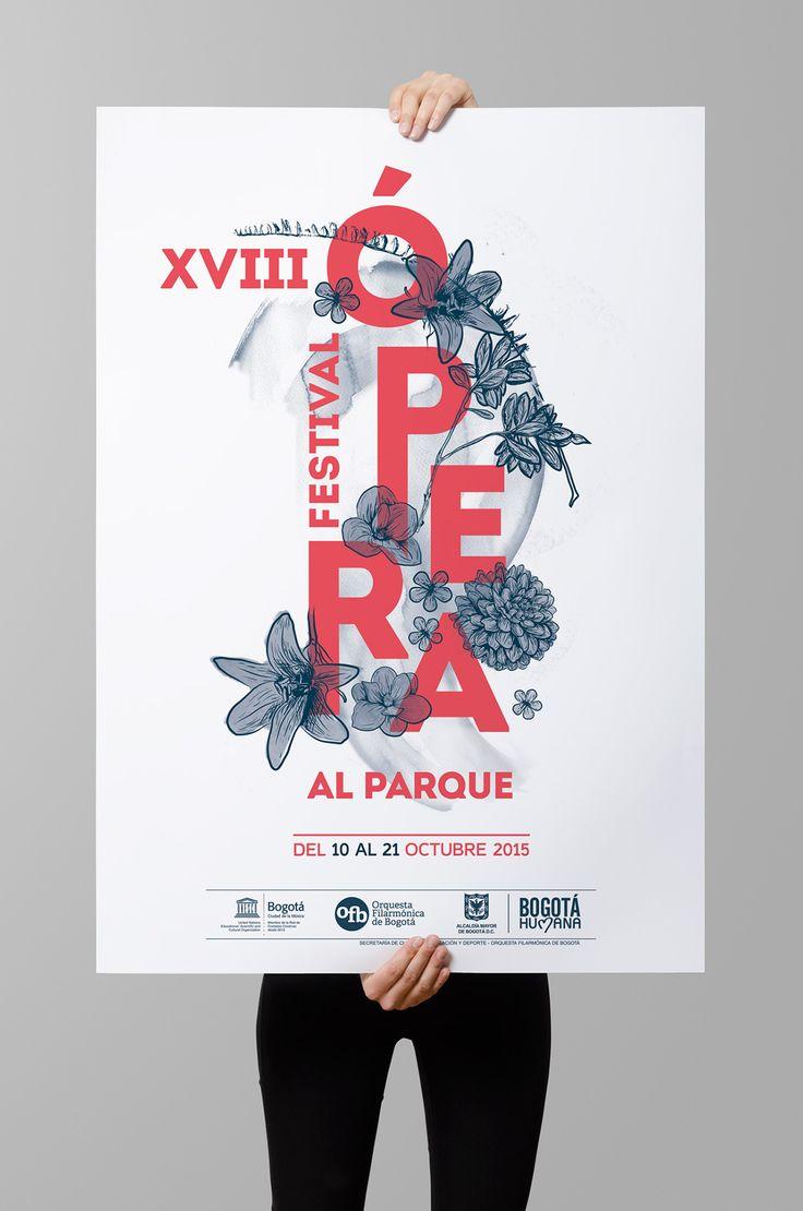 The poster for the XVIII Opera al Parque Bogotá Festival narrates a dramatic story told from Bogotá flower gardens (lily, dahlia, hortencia, jasmine and magnolia)--Participation