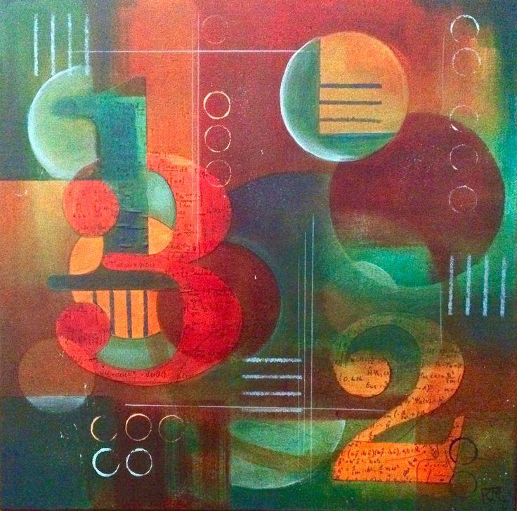 """New Math ll"" 20 x 20 Mixed Medium on Canvas. Original art by Kim McLennan"