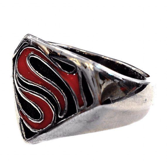 Handmade steel Superman ring