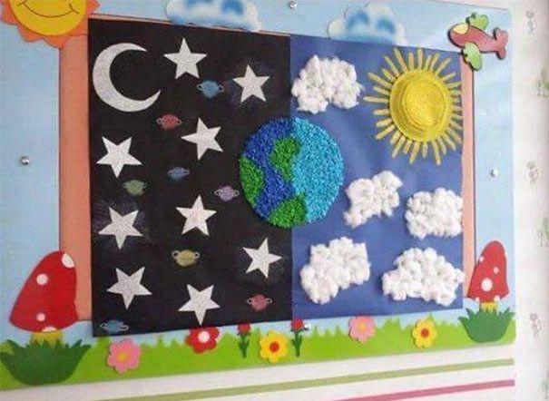 وسائل تعليمية للعلوم لرياض الاطفال من خامات البيئة سهلة بالعربي نتعلم Preschool Displays Kindergarten Art Lessons Preschool Art