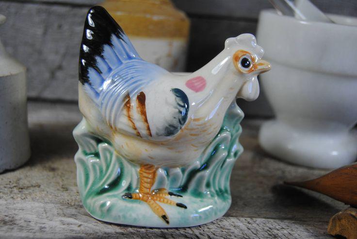Vintage ceramic planter Chicken Hen Farm yard animal Hand Painted 1950s bird planter gift idea home country kitchen decor trinket dish