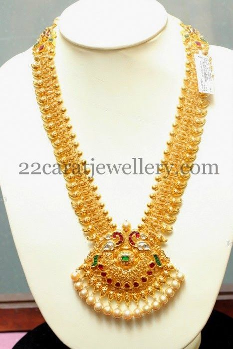 Jewellery Designs: Enamel Work Peacock Gold Haram