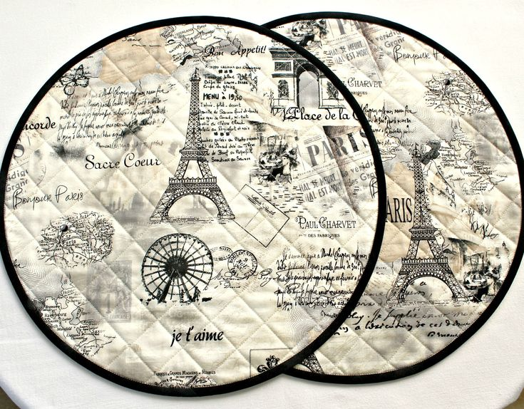Quilted Round Placemats Paris Eiffel Tower Set of 2 Table