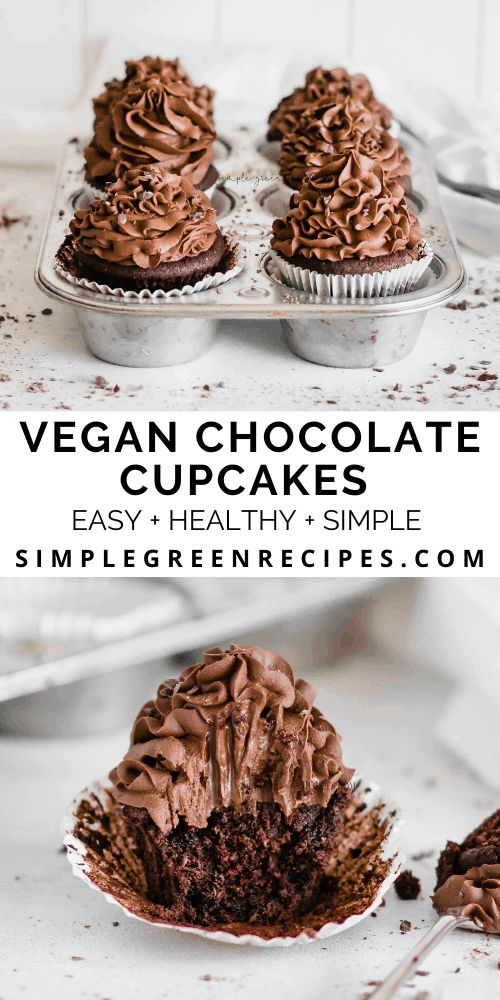 Simply the BEST Vegan Chocolate Cupcakes! Those are made in half an hour and with just a few basic ingredients. EASY, fl…