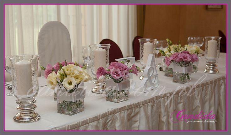 dekoracja stołu Młodej Pary w hotelu Pan Tadeusz