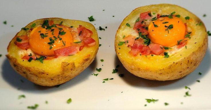 Nidos de patatas y beicon al horno