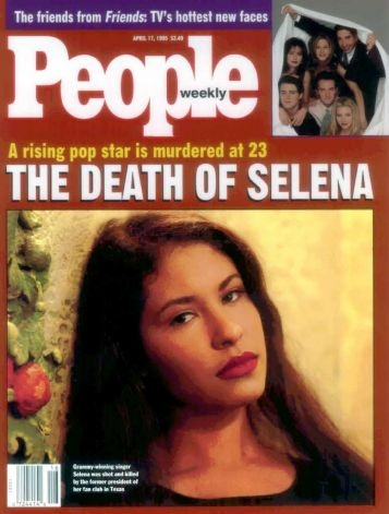 """People magazine shows the Latin star Selena on the April 17th cover.  Selena's death has led to a first for People magazine_its first split-run cover.  It's putting her on the front of its April 17 issue for copies printed in Dallas and available in 11 states from New Mexico to Mississippi.  Other copies will show the cast of TV's """"Friends."""" Photo: AP / PEOPLE"""