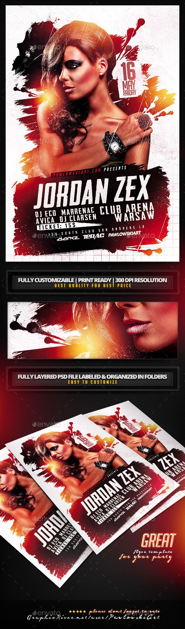 DJ Electro v5 Party Flyer PSD Template — Photoshop PSD #grunge #dj flyer • Available here → https://graphicriver.net/item/dj-electro-v5-party-flyer-psd-template/11269598?ref=pxcr