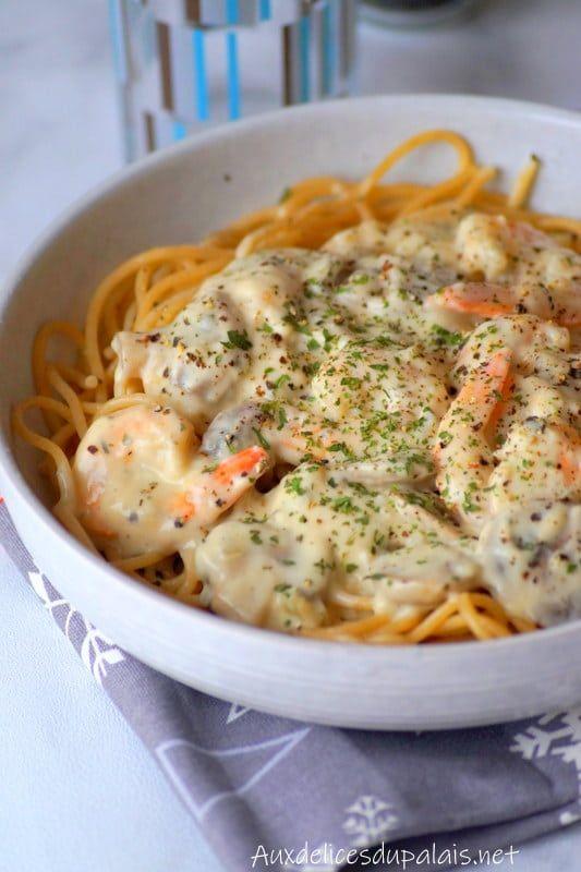 Spaghetti aux crevettes, sauce crémeuse aux champignons