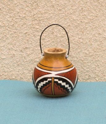 Southwestern Hand-painted Gourd Pot Ornament #305
