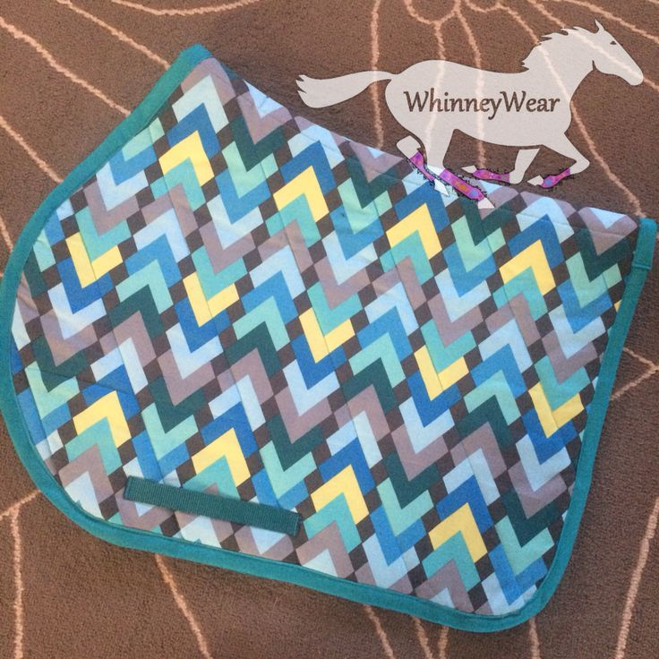 Geometric peacock patterned English saddle pad by WhinneyWear  www.whinneywear.com