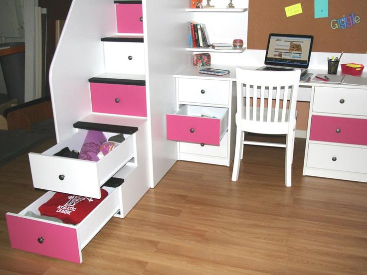 Berg Furniture Utica Deluxe Dorm Loft Bed With Desk 5 Stairs